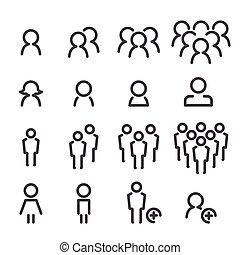 people line icon set