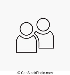 People. Line Icon Vector. Group Sign isolated on white background. Flat design style