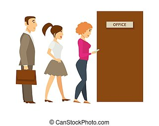 People line queue entering office vector cartoon