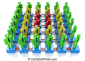 People linked together, Different color community, Network concept