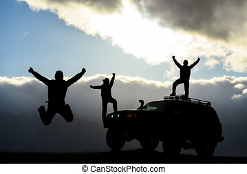 people living adventure with land vehicle