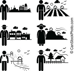 A set of human pictogram representing people in different places such as city, cottage house, highlands, seaside, village, and farm house.
