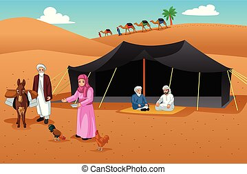 People Living in the Desert Illustration