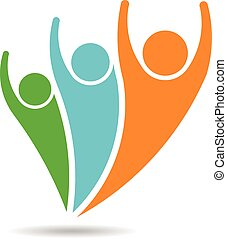 People logo vector. 3 persons