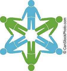 People logo.Circle together