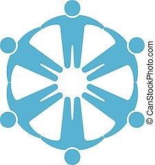 People logo.Holding hands in circle