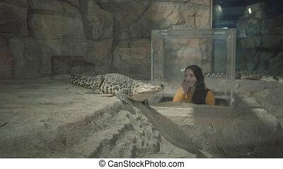 people look at crocodiles in a large oceanarium.