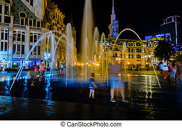 people looking at Fountain with night light