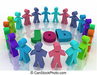 People looking for job . Career opportunity concept. 3d...