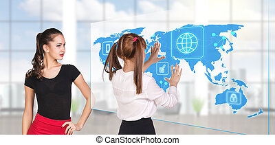 People looking to global business map