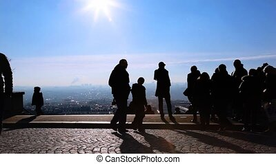 people looks at Paris from Montmartre hill, Paris, France