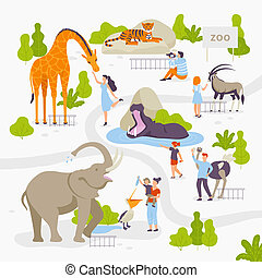 People love and look at wild animals in the set of vector illustrations in flat design isolated on white background. Men, women, family, children at the park having fun.