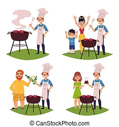 People make BBQ, barbeque, cook meat on grill
