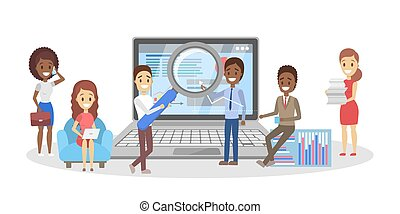 People making business analysis. Idea of teamwork and leadership. Little workers making research on the laptop computer. Business planning. Isolated vector illustration