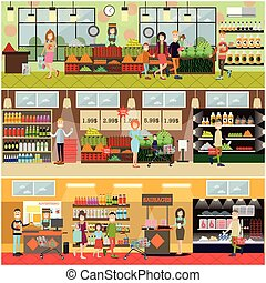 People making purchases vector flat poster set - Vector set...