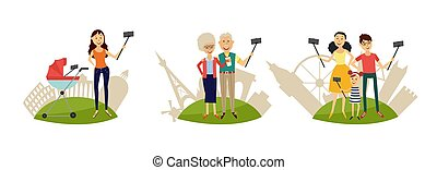 People making selfie with smartphone and monopod on sights background set.