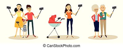 People making selfie with smartphone and monopod set isolated on white background.
