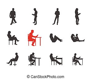People, male, female silhouettes in different casual common reading poses