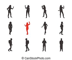 People, male, female silhouettes in different casual poses