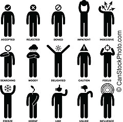 People Man Emotion Feeling Action - A set of pictogram ...