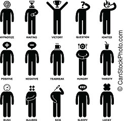 A set of pictogram representing the characteristic, behaviour, mind, attitude, identity, and personalities of a person.