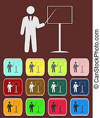 people - man, person with a pointer and board