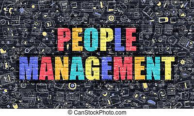 People Management in Multicolor. Doodle Design.