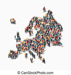 people map country Europe - Isometric set of styles, people,...
