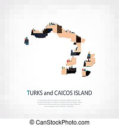 people map country Turks and Caicos Islands vector -...