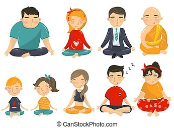 People meditating and relaxing in yoga lotus position set, men, women and kids doing yoga cartoon vector Illustrations