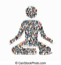 people  meditating person pose lotus icon