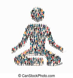 people  meditating person pose lotus icon