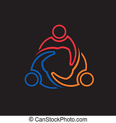 People Meeting 3 lineal image. Concept of union, group of people