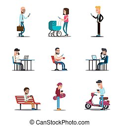People mobile phones concept. Modern lifestyle vector illustration
