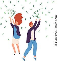 People money rain. Happy persons raining money dollars gold coins cash lucky rich man woman business finance deposit vector concept
