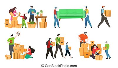 People moving boxes and furniture to new house, happy family packing belongings, vector illustration