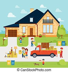 People moving into a new home stock vector, flat design illustration.