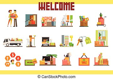 People moving to new house with things and home furniture. Repair in apartment. House for sale. Design for real estate company, website, mobile app. Flat vector icon