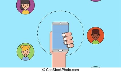 people net work - falling hand with phone people characters...