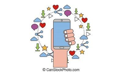 people net work - hand with phone net work cloud favorite...