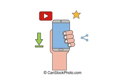 people net work - hand with phone video share favorite...