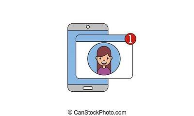 people net work - phone woman notification social media net...