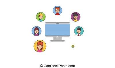 people net work - young people computer smartphone network