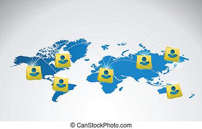 people network communication world map