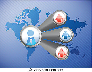 people network world map illustration design over a blue ...