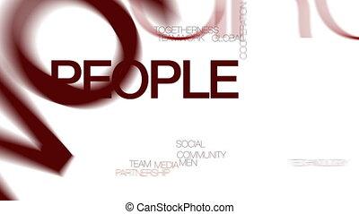 People networking animated word cloud. Kinetic typography.