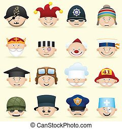 People occupations icon set