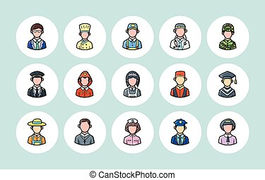 People occupations icons set,eps10