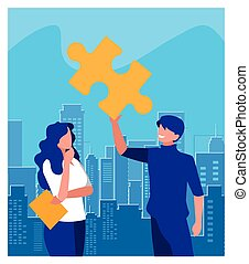 people of business with puzzle piece , teamwork
