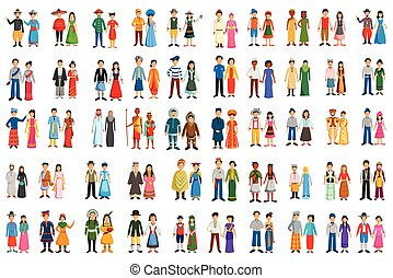 Set of people of different countries in traditional costume in vector